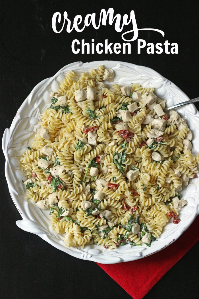 platter of pasta with chicken