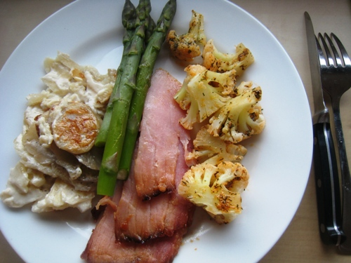 Ham Scalloped Potatoes Asparagus Cauliflower sm