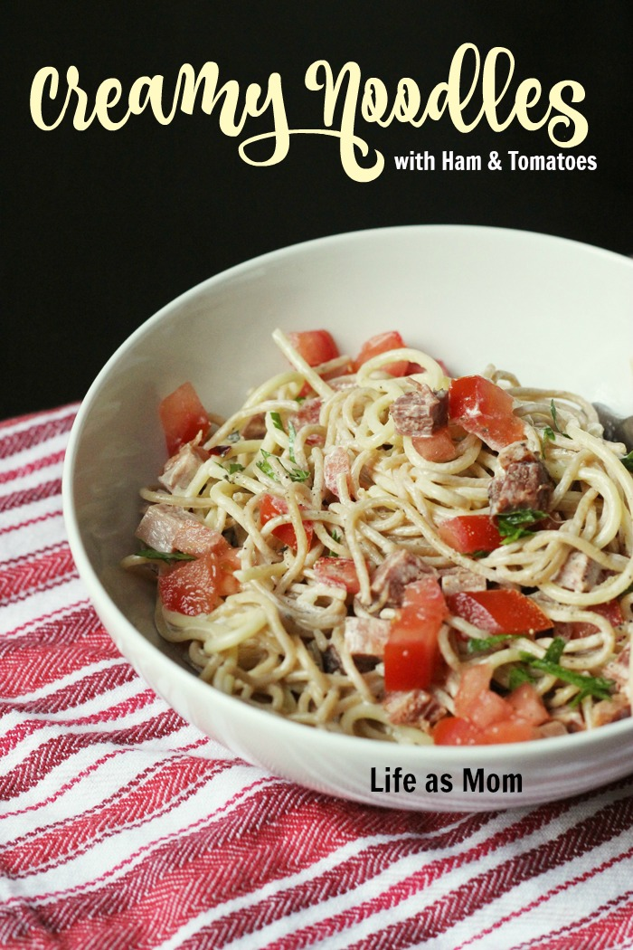 Creamy Noodles with Ham and Tomatoes | Life as Mom