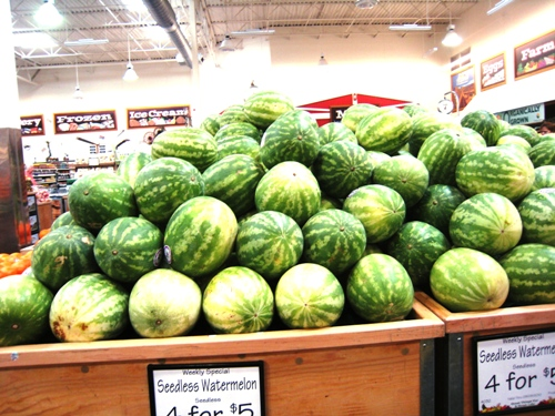 watermelons on display at store