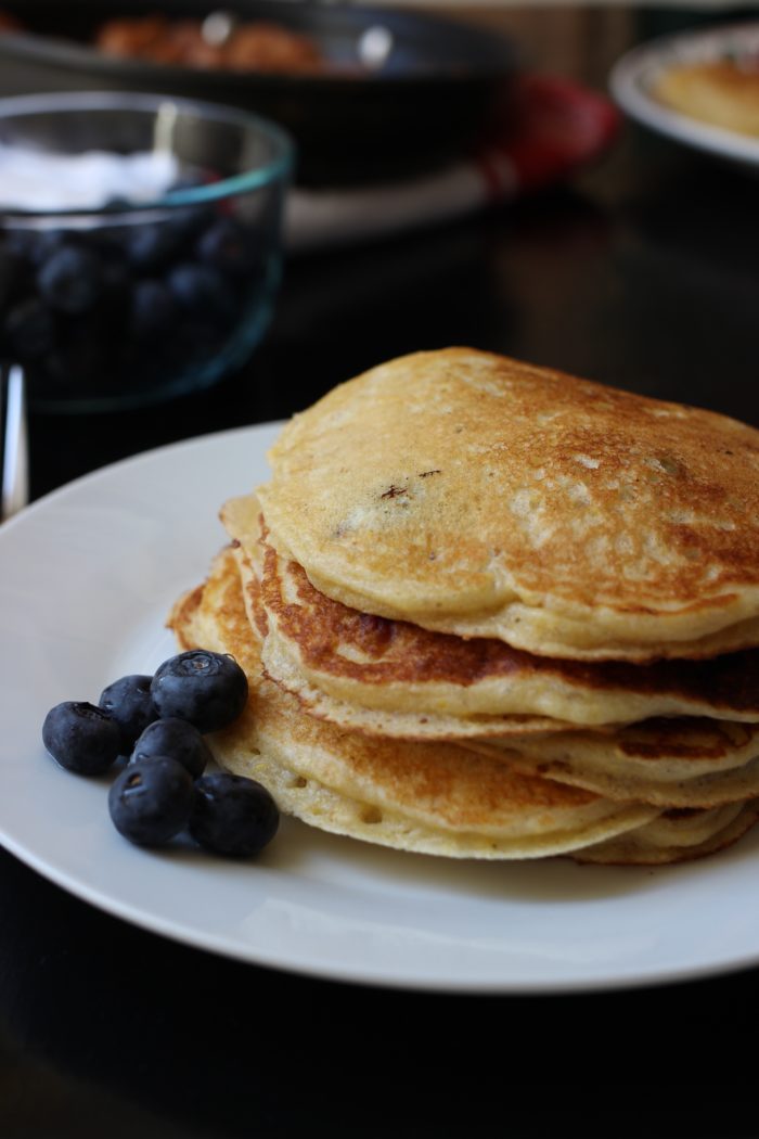 stack of whole grain blueberry pancakes