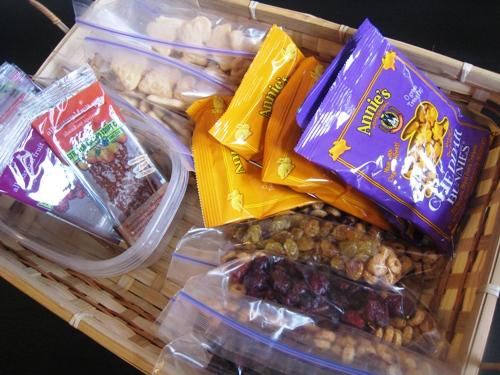 basket filled with school snacks