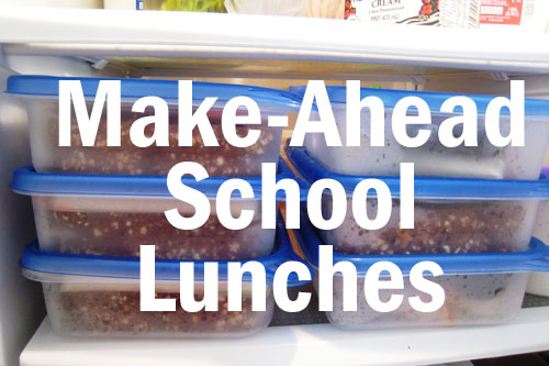 school lunches stacked in fridge