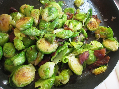 brussels sprouts and bacon in a pan