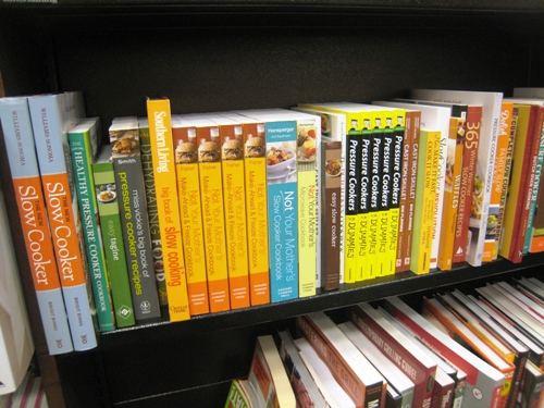 cookbook on shelf