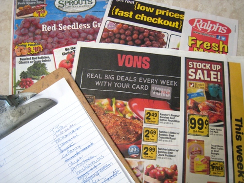 grocery ads on table