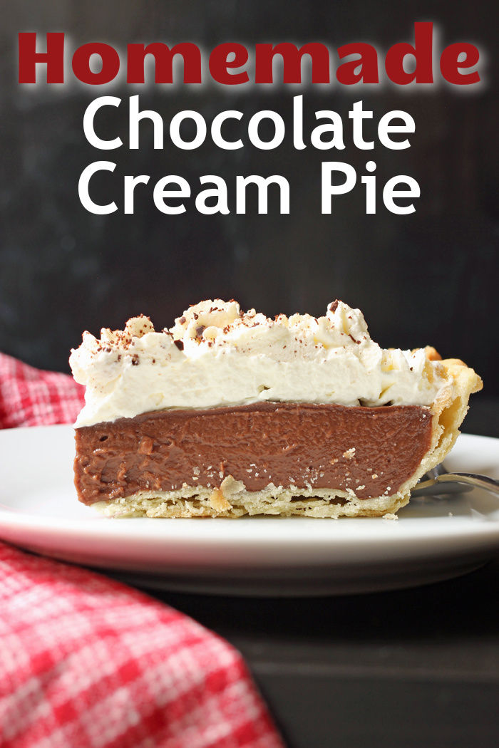A piece of Chocolate Cream Pie on a plate