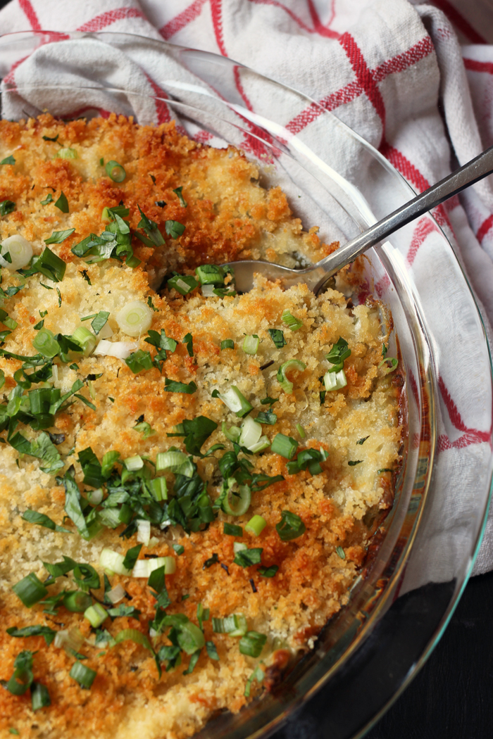 Green Bean Casserole in dish with spoon