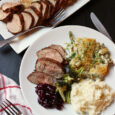 dinner plate with Spice Rubbed Pork Tenderloin & vegetable side dishes