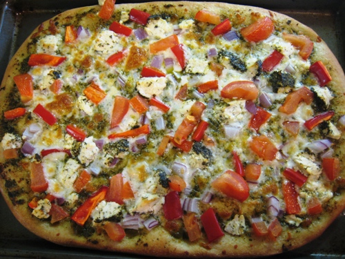 Goat Cheese Pizza with Pesto and Fresh Vegetables