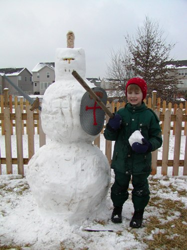 boy with snow knight