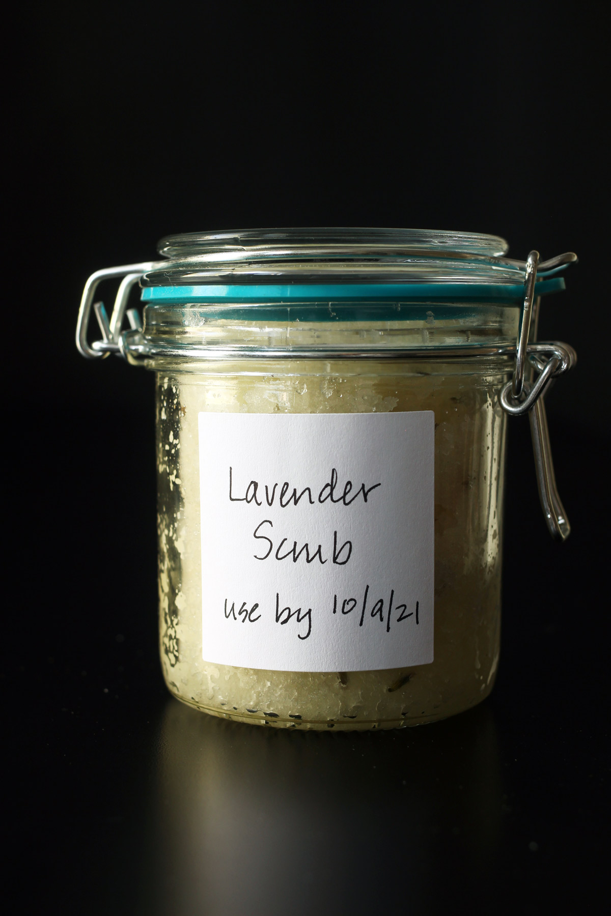 lavender scrub in labeled jar with lid
