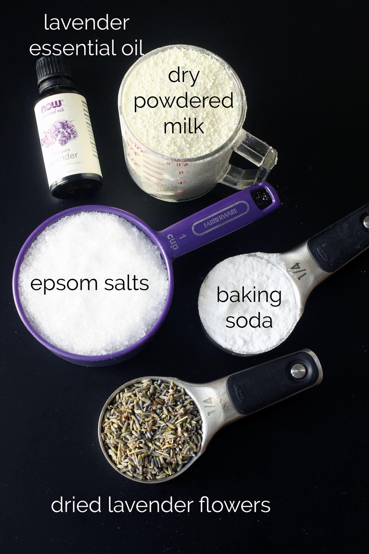 ingredients for lavender milk bath