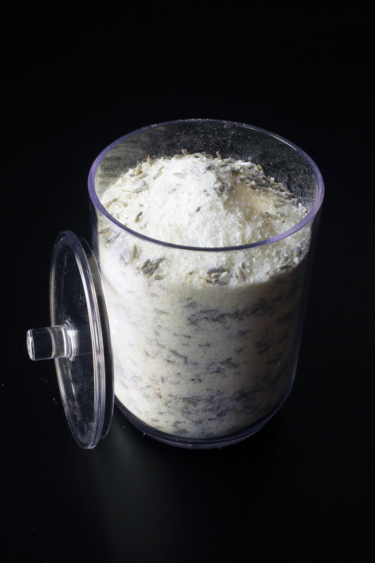 open jar of lavender milk bath
