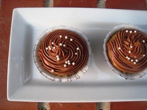 closeup of banana cupcake with sprinkles