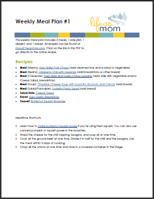 Weekly Meal Plan with Grocery List #1 | Life as MOM