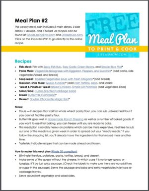 FREE Weekly Meal Plan to Print & Cook #2 | Life as Mom