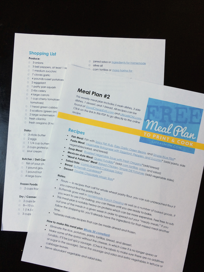 FREE Weekly Meal Plan to Print & Cook #2   Life as Mom