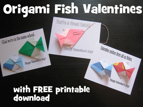 Origami Fish with Printable Valentine Card