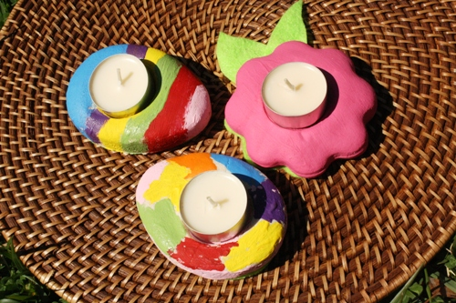 Easter Salt Dough Candle Holders