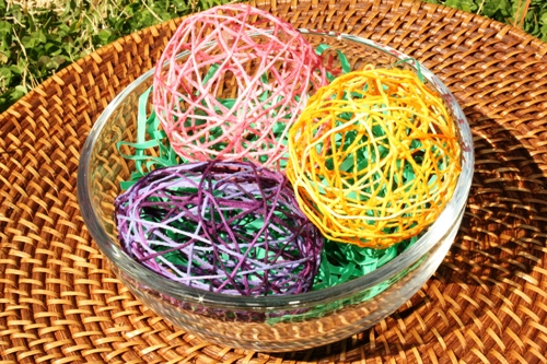 Embroidery Floss Eggs in Bowl