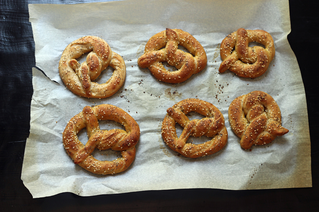 A close up of pretzels on parchment