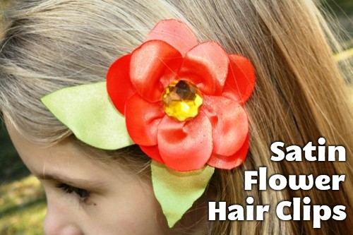 Satin Flower Hairclips