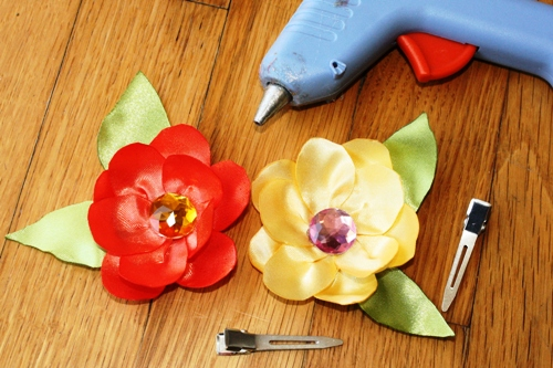 Supplies for Satin Flower Hairclip