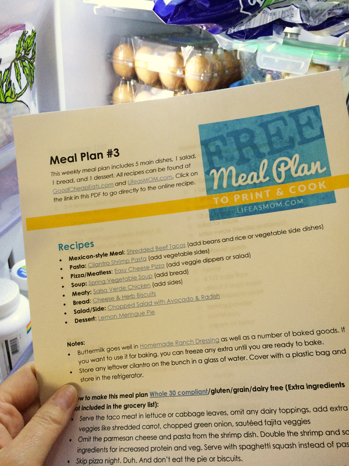 Free Weekly Meal Plan To Print Cook 3 Life As Mom