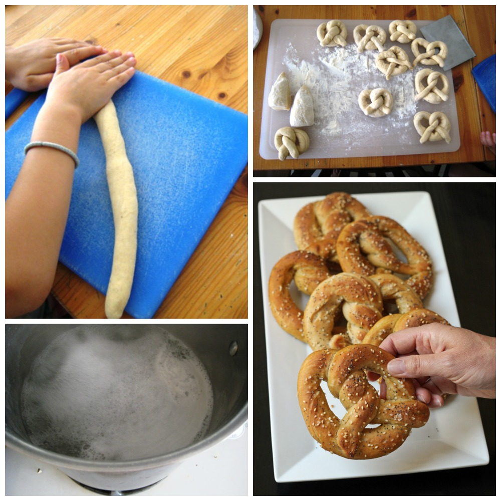 a collage of the steps for making garlic herb pretzels