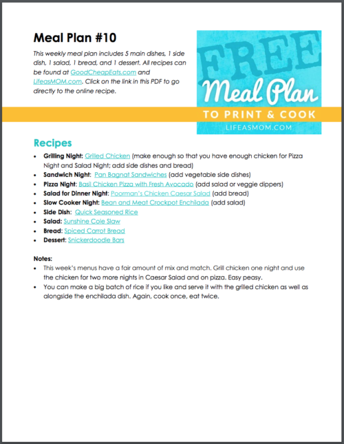 Weekly Meal Plan to Print & Cook #10 from Life as Mom