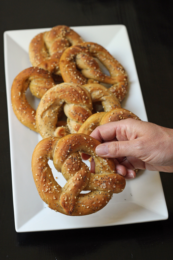 A tray of homemade pretzels