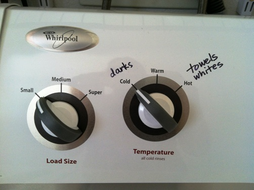 washing machine with labels