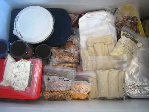freezer filled with frozen meals