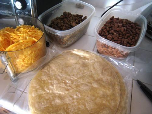 ingredients to make freezer burritos