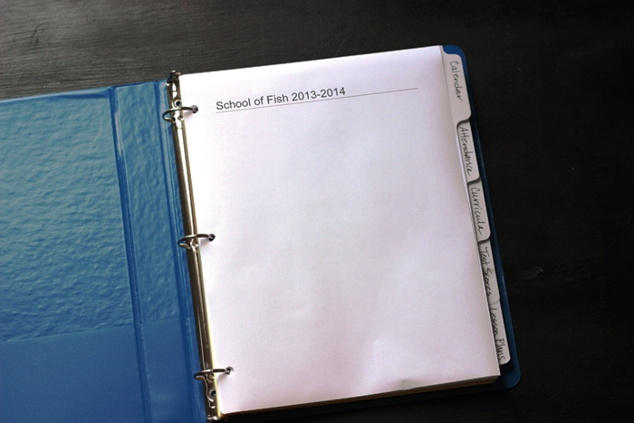 homeschool binder with dividers