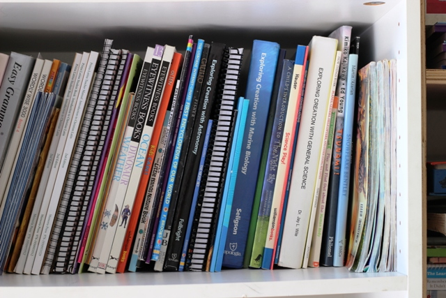 school books on shelf