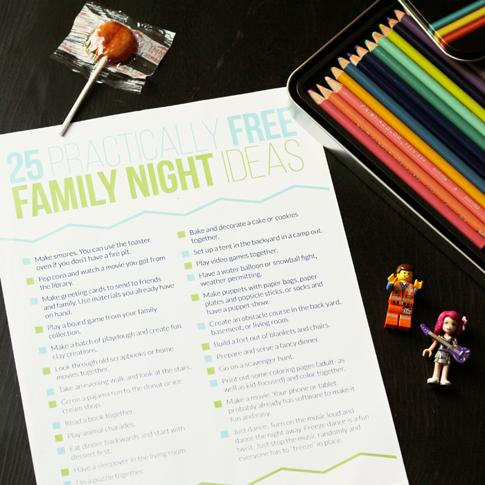 list of family night ideas