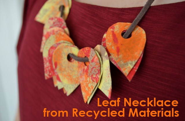 Leaf Necklace from Recycled Materials