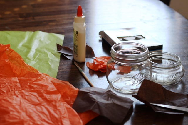craft supplies needed for decoupage candle holders