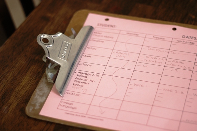 homeschool clipboard