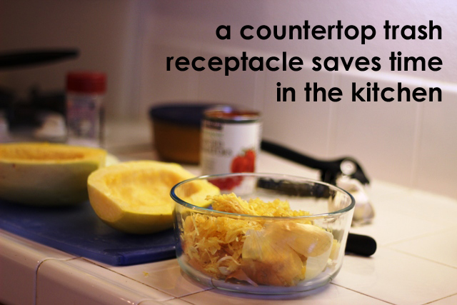 Countertop trash saves time in the kitchen