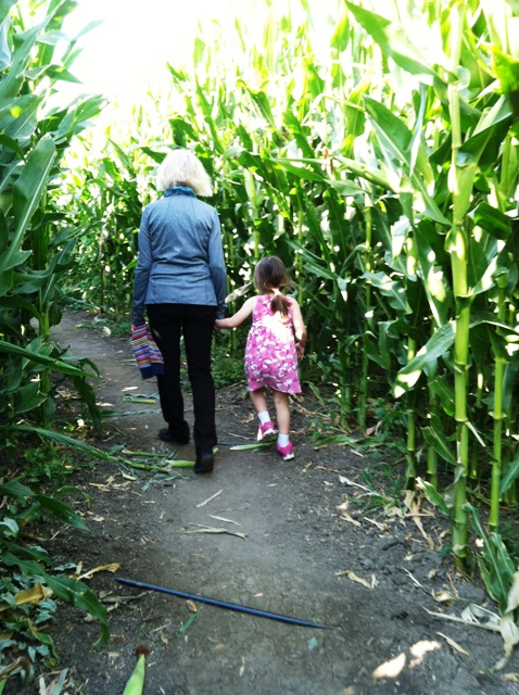 gramma and girl in corn