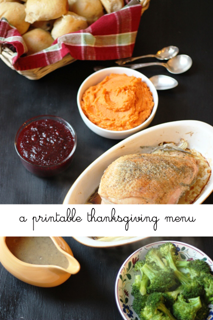 A Printable Thanksgiving Menu