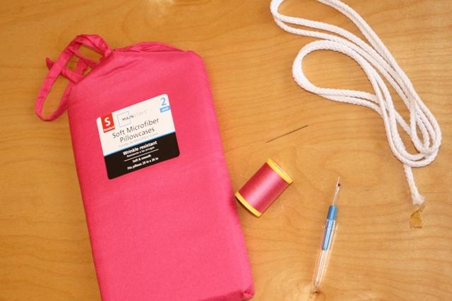 No Sew Pillowcase Drawstring Bag: How to Make A Reusable Drawstring Bag,