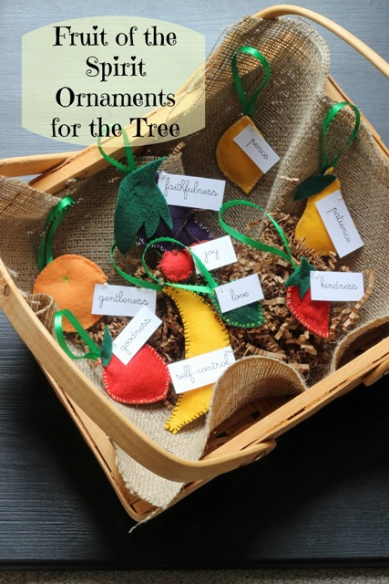 Fruit of the Spirit Christmas Tree Ornaments - Create these fun and whimsical homespun Christmas ornaments for the tree. They're a great reminder of the fruits of the Spirit.