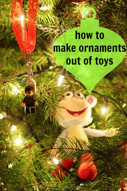 How to Make Christmas Ornaments from Toys - an easy tutorial for creating character ornaments at a fraction of the cost.