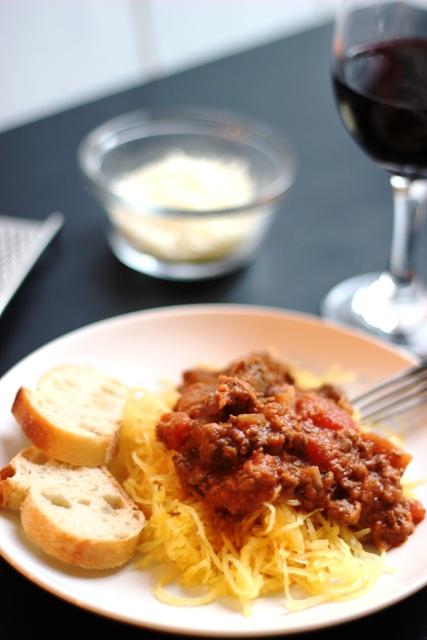 bolognese pasta sauce with spaghetti squash