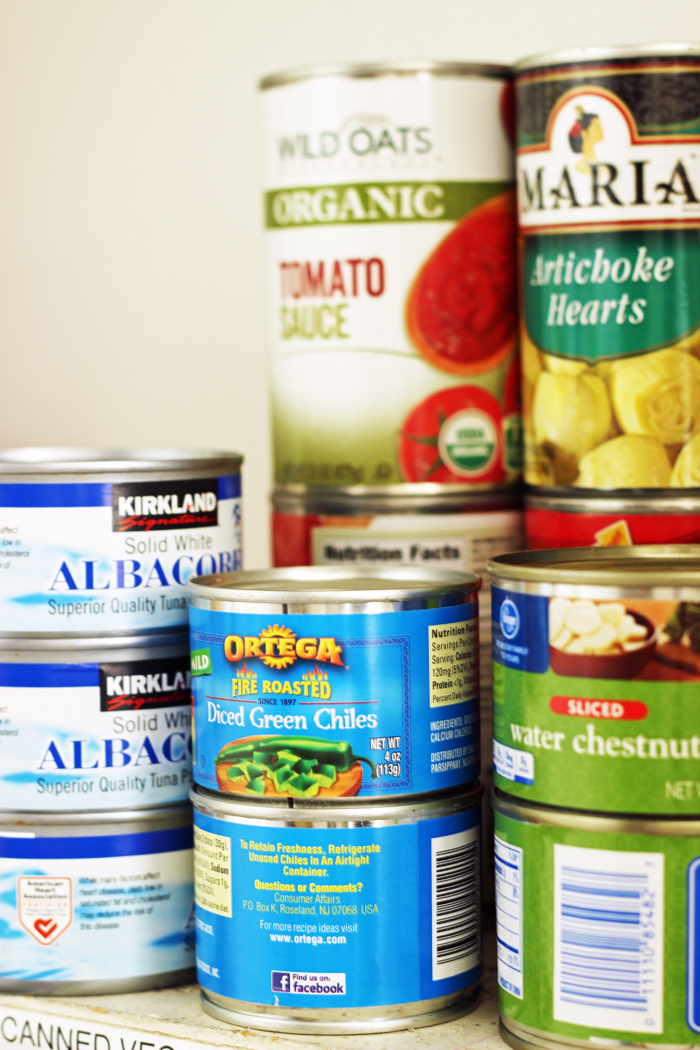 canned goods in pantry