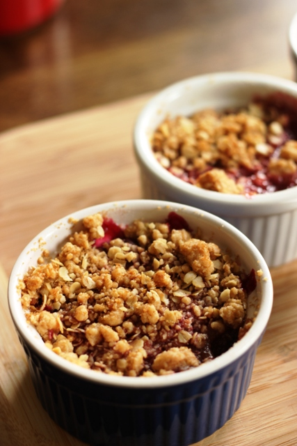 Personal Cherry Crumbles - Bake up individual cherry crumbles for a delicious dessert any time of year. (Psst, but particularly fun at Valentine's Day.)